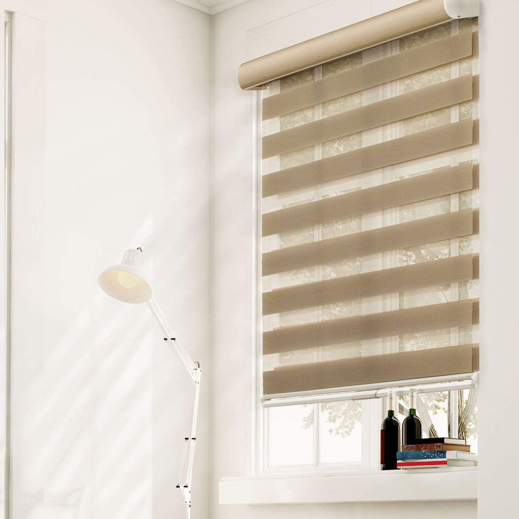 "Chicology Zebra / Dual Sheer Shades West Taupe / 20""W X 72""H Cordless Zebra Roller Shades, West Taupe ZSWT2072"