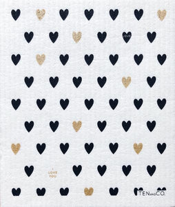 Sponge Cloth TINY HEARTS Black/Gold