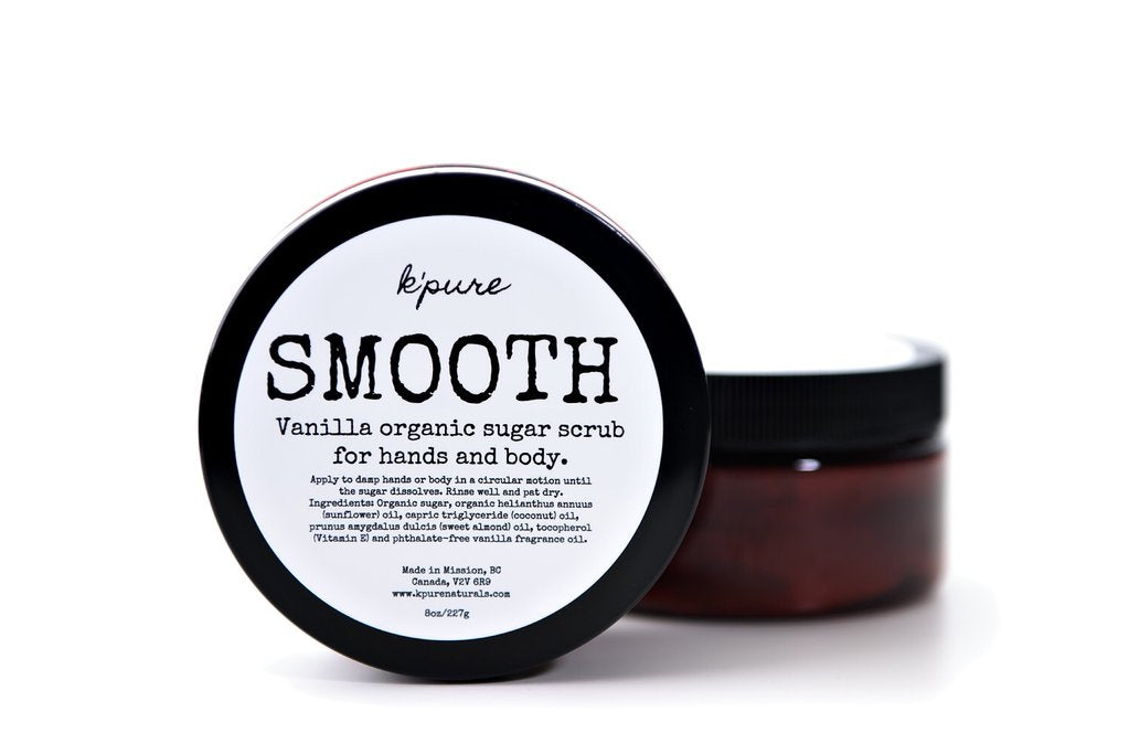 Scrub SMOOTH Organic Sugar Scrub for Hands and Body - Vanilla