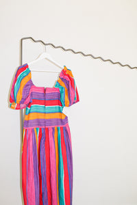 Vintage Striped Peasant Dress