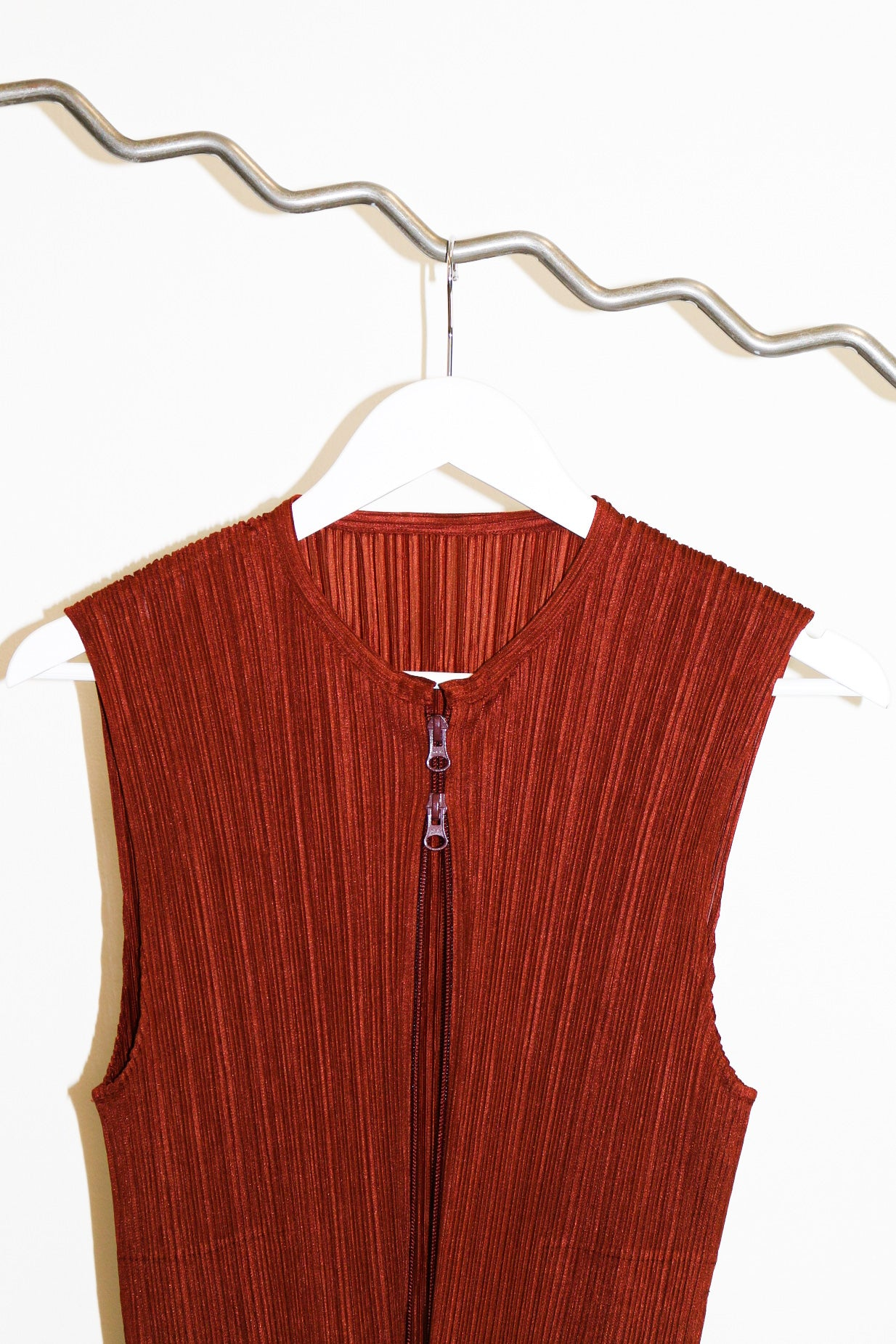 Pleats Please by Issey Miyake Sleeveless Rust Zip