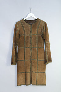 Vintage Suede Patchwork Overshirt Dress