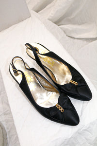 Salvatore Ferragamo Satin Bow Heels with chain detail