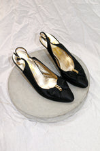 Load image into Gallery viewer, Salvatore Ferragamo Satin Bow Heels with chain detail
