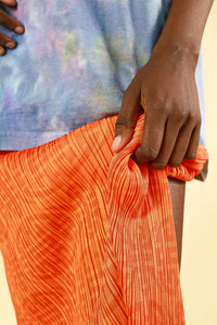 Pleats Please by Issey Miyake Orange Patterned Skirt with Split