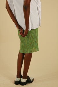 Pleats Please by Issey Miyake Green Midi Skirt