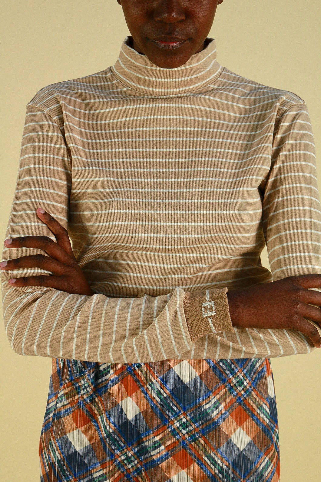 Vintage Fendi Jeans Striped Long Sleeve with Cuffed Logo