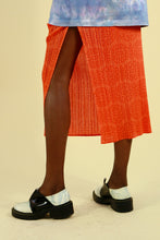 Load image into Gallery viewer, Pleats Please by Issey Miyake Orange Patterned Skirt with Split
