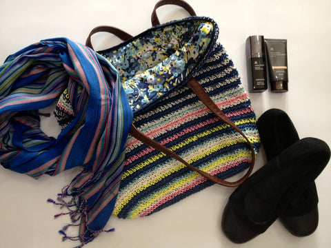 Scarf $49, Bag $99. Shoes $70. Primer $50. Tinted moisturiser $55. All available at Look Feel Be x