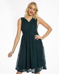 Demi Teal Lace Swing Dress