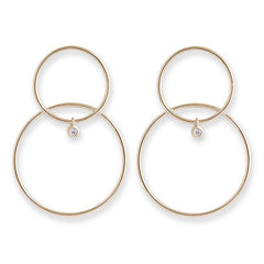 Gold Double Hoop CZ Bezel Drop Earrings