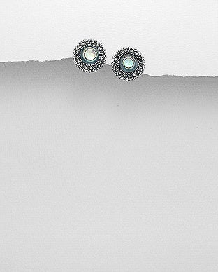 Round Abalone and Marcasite Earrings GS