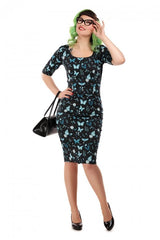 Amber Midnight Butterfly Wiggle Dress
