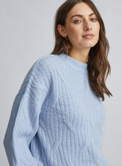 Blue Diagonal Knitted Jumper
