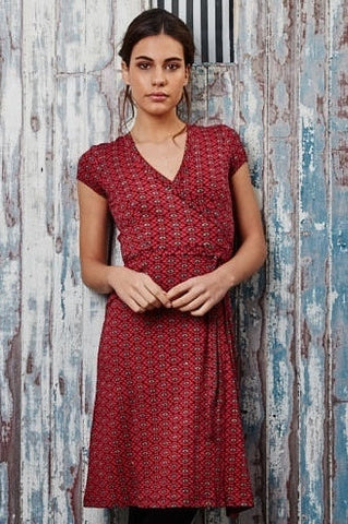 Diamond Red Wrap Dress