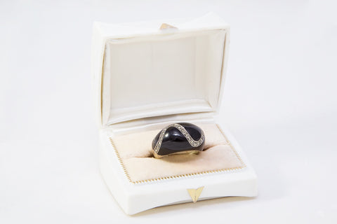18-185 Marcasite and Black Enamel Ring