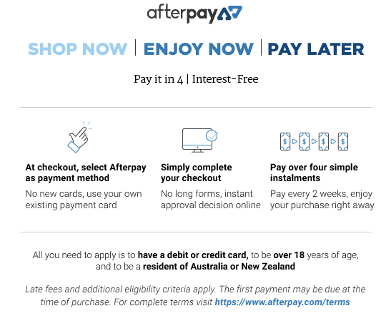 afterpay how it works, click image for more information