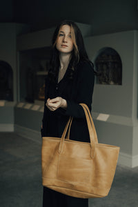 Dreamers Leather Tote - Ochre