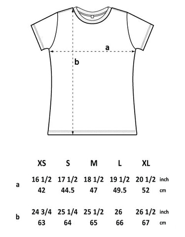 Ladies Climbing T-shirt size guide