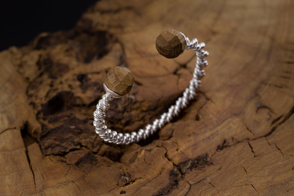 Silver Bracelet With Wood - ArtLofter