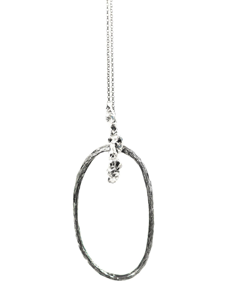 Oxidized Silver Necklace With Diamond Dust - ArtLofter