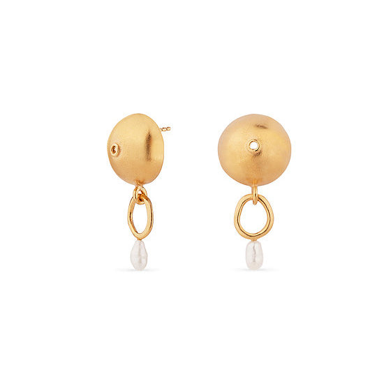 Circle Gold Plated Earrings With Pearl