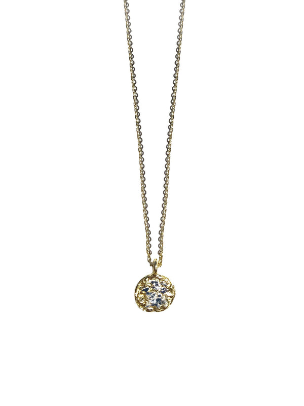 Small Gold Plated Necklace With Diamond Dust - ArtLofter