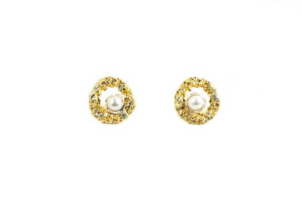 Gold Plated Earrings With Diamond Dust And Pearls - ArtLofter