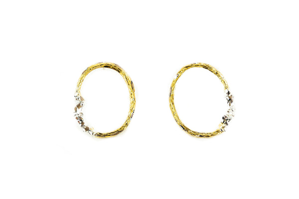 Gold Plated Earrings With Diamond Dust - ArtLofter