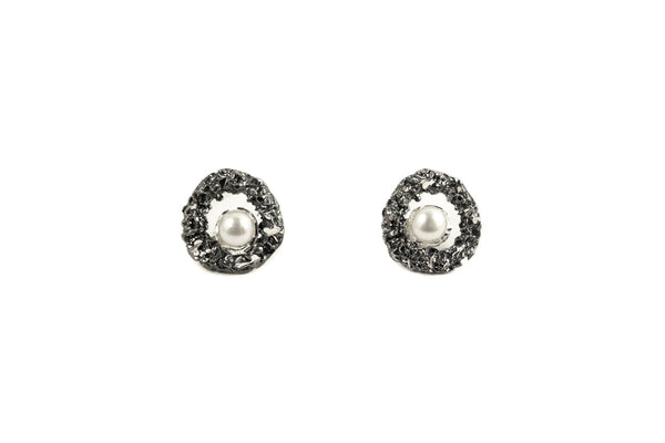 Oxidized Silver Earrings With Diamond Dust And Pearls - ArtLofter