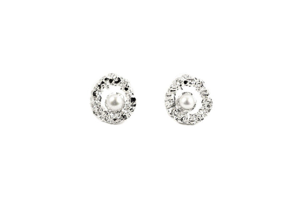 Silver Earrings With Diamond Dust And Pearls - ArtLofter