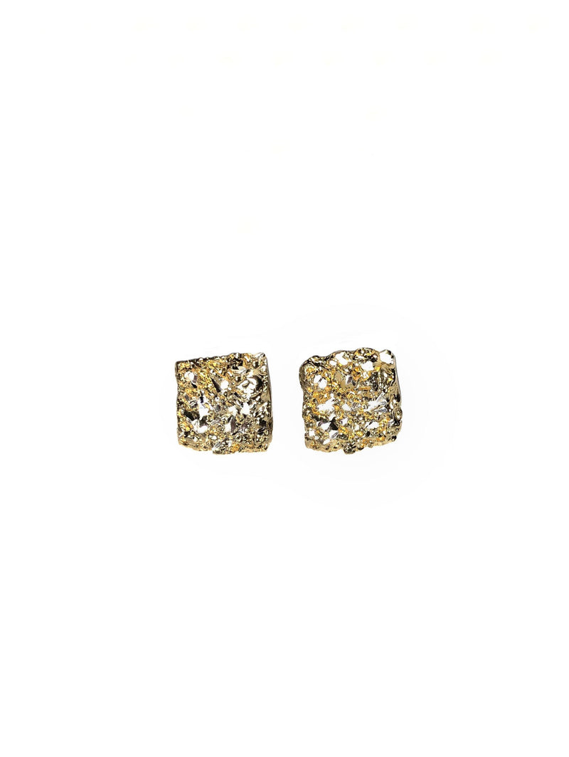 Square Gold Plated Earrings With Diamond Dust - ArtLofter