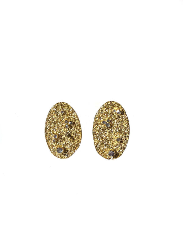 Gold Plated Earrings With Silver Grains - ArtLofter