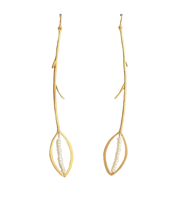 Gold Plated Leaf Earrings With River Pearls - ArtLofter
