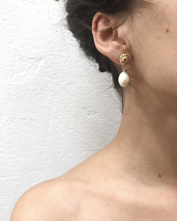 Gold Plated Earrings With Pearl - ArtLofter