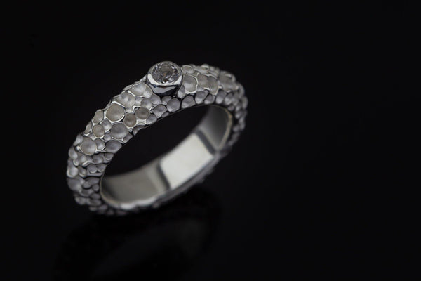 Silver Ring With White Sapphire - ArtLofter