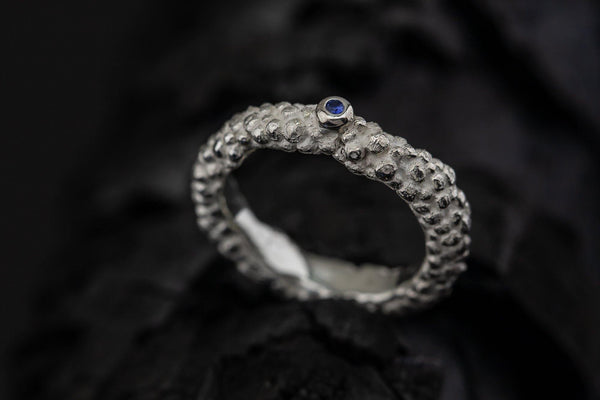 Silver Ring With Blue Sapphire - ArtLofter