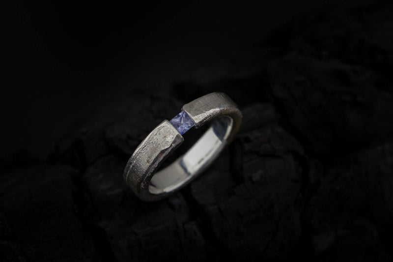 Silver Ring With Sapphire - ArtLofter