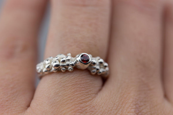 Silver Ring With Garnet - ArtLofter