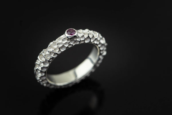 Silver Ring With Rhodolite - ArtLofter