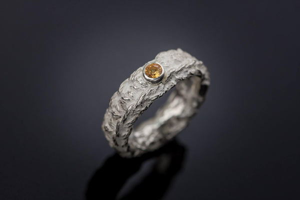 Silver Ring With Orange Sapphire - ArtLofter