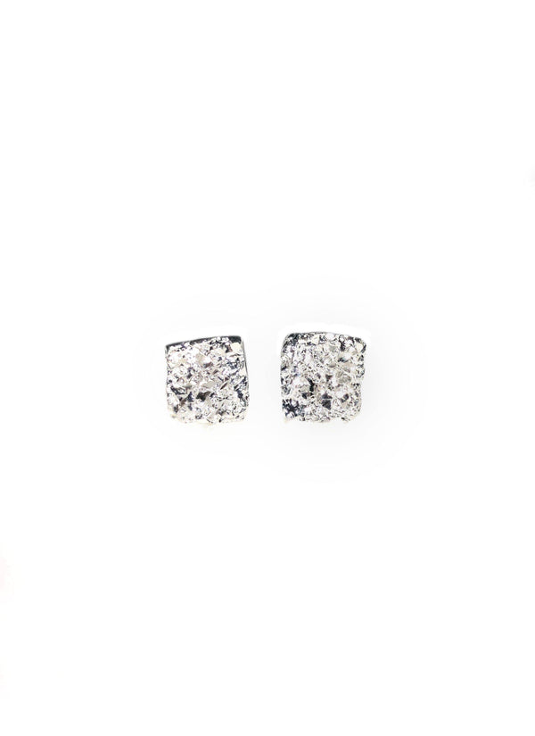 Square Silver Earrings With Diamond Dust - ArtLofter