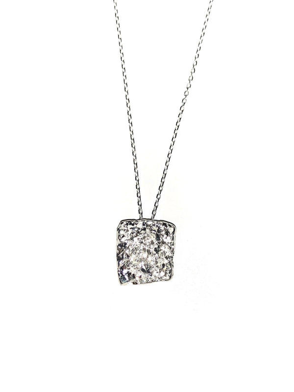Square Silver Necklace With Diamond Dust - ArtLofter