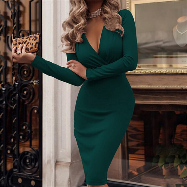 Long Sleeve Elegant Party Dress (HLYS) - Clothing Deals Online