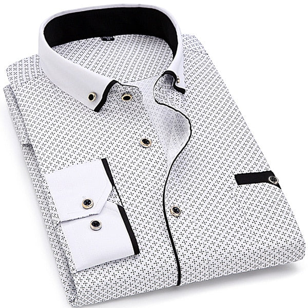 Slim-Fit Stitching Print Dress Shirt (QSH) - Clothing Deals Online