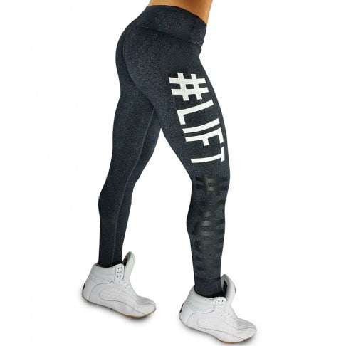 Letter Print High Waist Leggings (136) - Clothing Deals Online