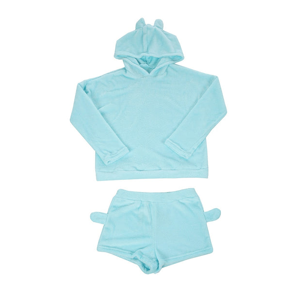 Velvet Hoodie and Shorts Set (18205) - Clothing Deals Online