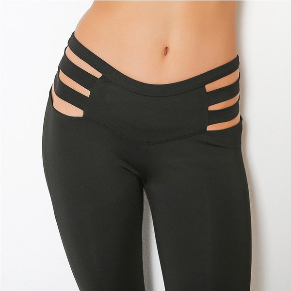 High Waist With Strap Breathable Leggings (120) - Clothing Deals Online