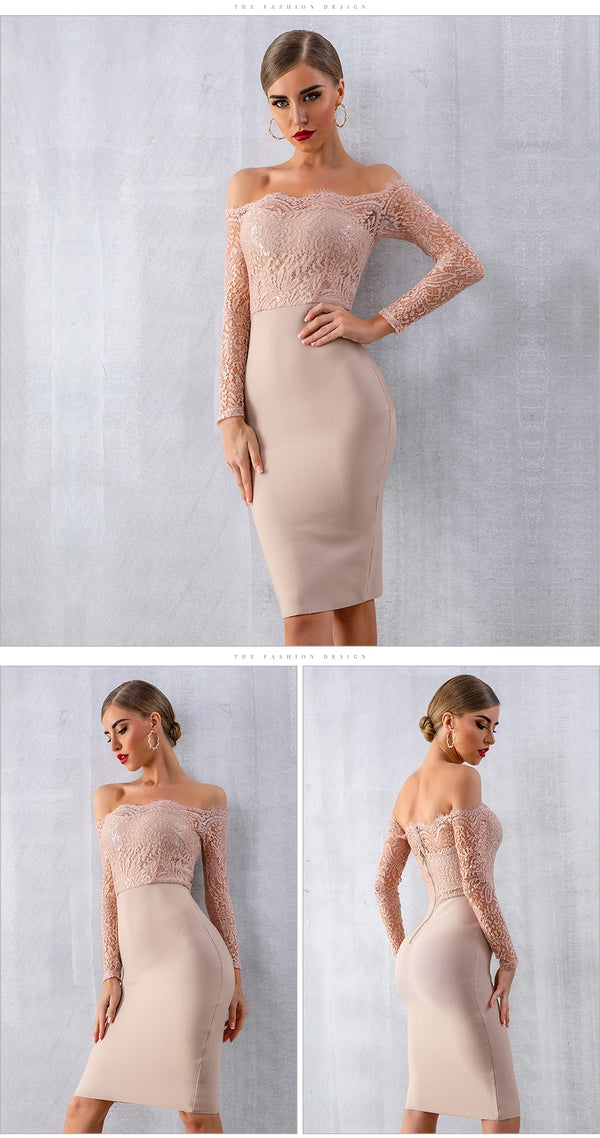 Slash Neck Lace Long Sleeve Party Dress (2806) - Clothing Deals Online