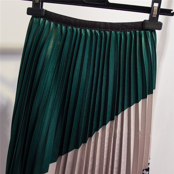 Color Matching Plaid Pleated A-Line Mid-Calf Skirt (933) - Clothing Deals Online